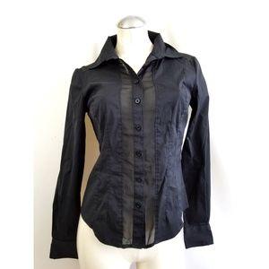 👗  bebe Size S Black Button Down Shirt Sheer Trim